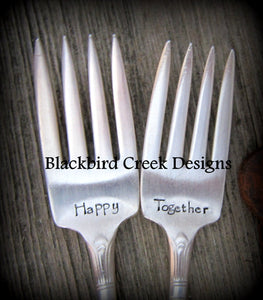 Wedding Cake Forks made from Vintage Silverware, Personalized, Hand Stamped