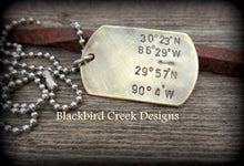 Load image into Gallery viewer, Longitude Latitude Brass Dog Tag Necklace