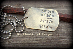Longitude Latitude Brass Dog Tag Necklace