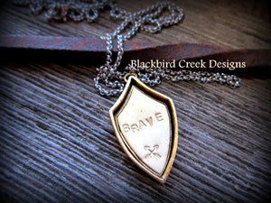 "Shield Pendant, ""Brave"" with Crossed Arrows Necklace"