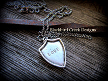 "Load image into Gallery viewer, Shield Pendant, ""Love"" Necklace"