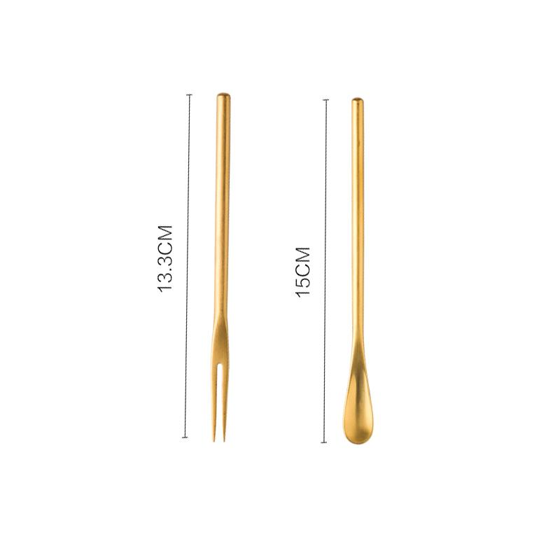 Small Fresh Dessert Spoon & Fork Two Set HGHOM Gold