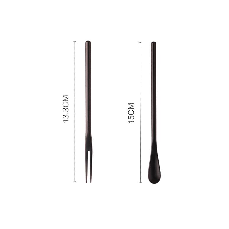 Small Fresh Dessert Spoon & Fork Two Set HGHOM Black