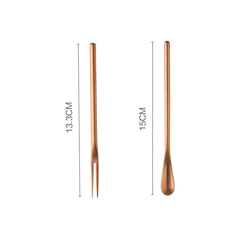 Small Fresh Dessert Spoon & Fork Two Set HGHOM Rose gold