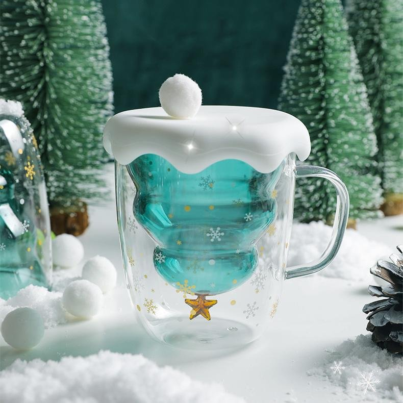 Christmas Tree Double Glass Cup - HGHOM
