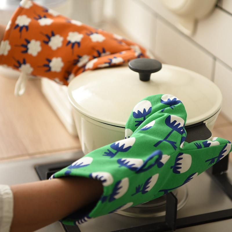 Cotton Linen Floral Anti-Scalding Baking Gloves - HGHOM