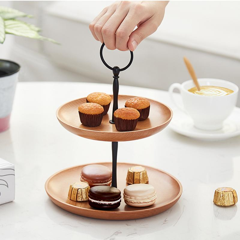Double Rotating Beech Snack Plate - HGHOM
