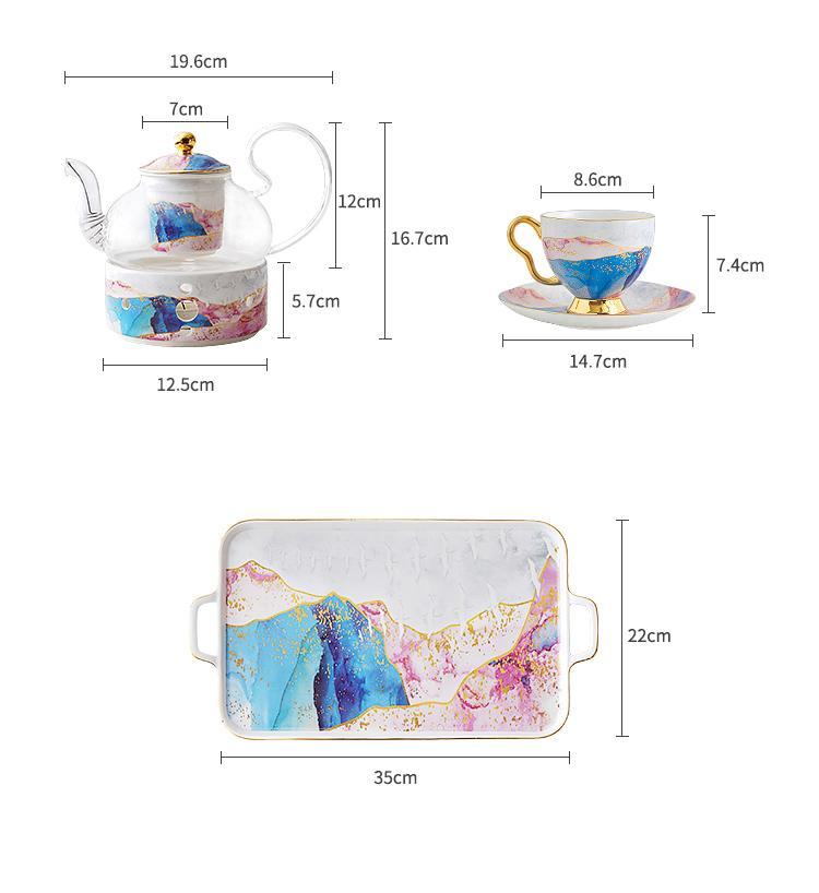 "Fine Bone china ""Sunset Glow"" Tea Pot Set - HGHOM"