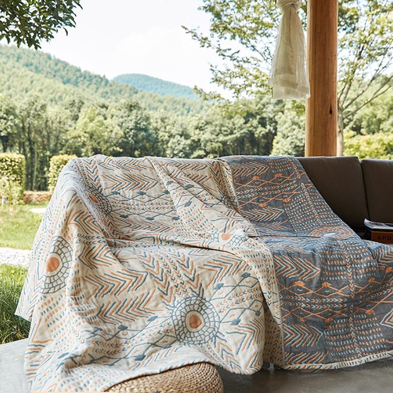 """Gaia"" Double-Side Cotton Sofa Blanket - HGHOM"