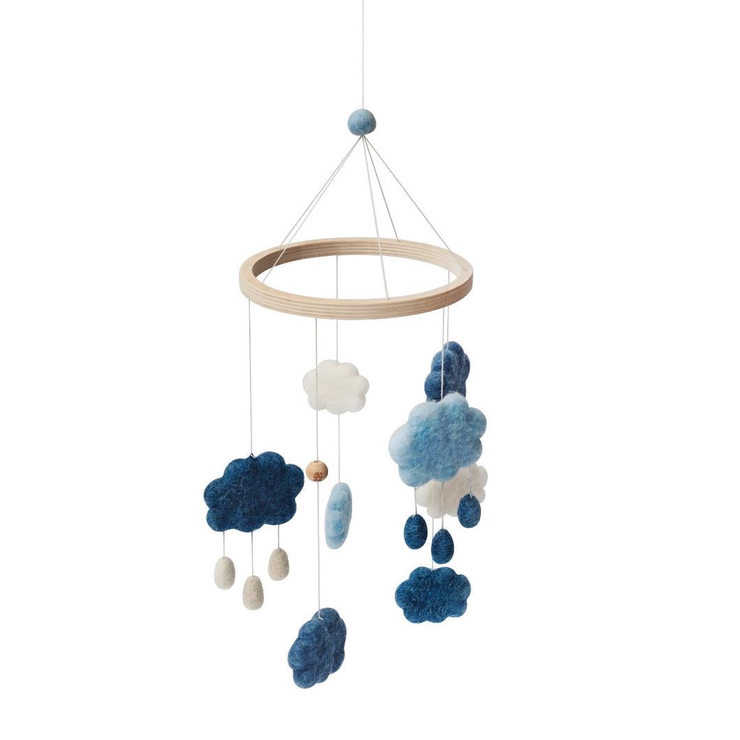Sebra - Felted Baby Mobile Clouds, Denim Blue