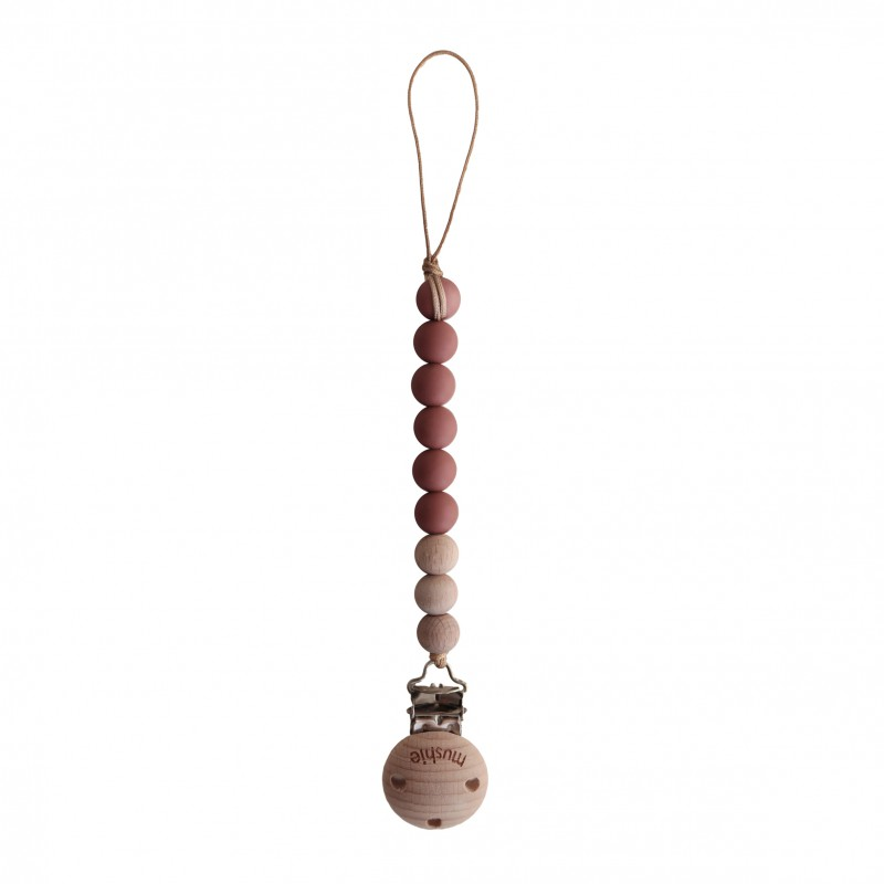 Mushie Fopspeenketting CLEO Red/Wood