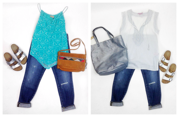 Left: Language Velvet Top in turquoise, Arizona Birkenstocks in silver, AG Beau jeans, Esuka bag in chestnut