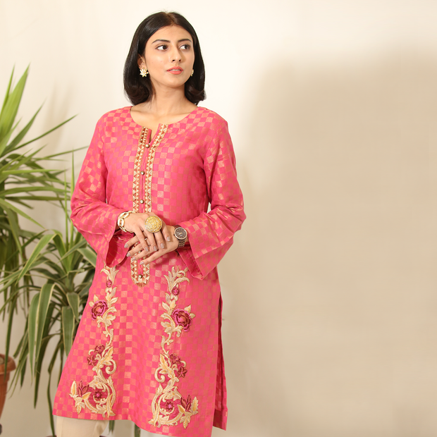 Shocking Pink Jacquard