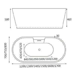 Hera Bathtub 3046 Oval Shape Stand Alone tub with tap panel - SaniQUO