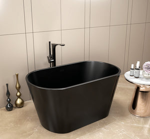 Black Hera Bathtub 1005 OVAL Stand Alone | The Mini Bathtub for your Home Spa - SaniQUO | The Concept Store For Your Bathroom
