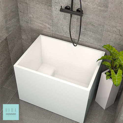 Hera Bathtub 3043, Portable HDB Bath tub in rectangular shape. Available with seat or without seat - SaniQUO | The Concept Store For Your Bathroom