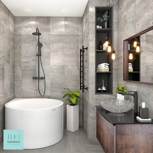Hera Bathtub 3052 Corner Rain Drop Shape Soak Tub - SaniQUO | The Concept Store For Your Bathroom