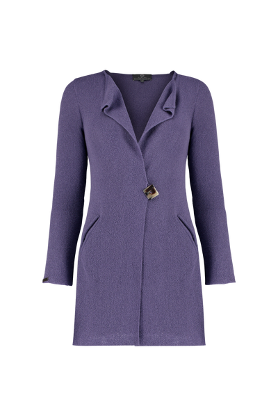 Baby Alpaca Short Signature Coat in Cornflower with pockets and square horn button