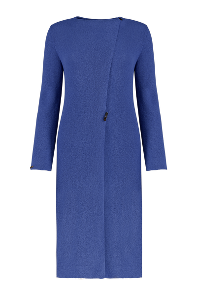 Baby Alpaca Signature Coat in Forget me not closed with rectangle horn buttons