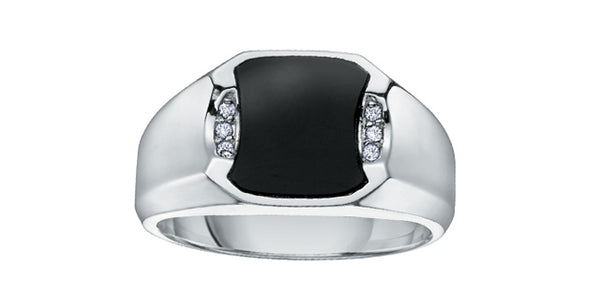 ONYX WITH DIAMONDS MEN'S RING
