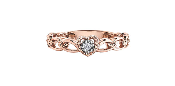 HEART RING W/DIAMOND ROSE GOLD