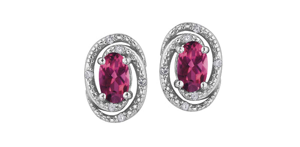PINK TOPAZ W/DIA SILVER EARRINGS