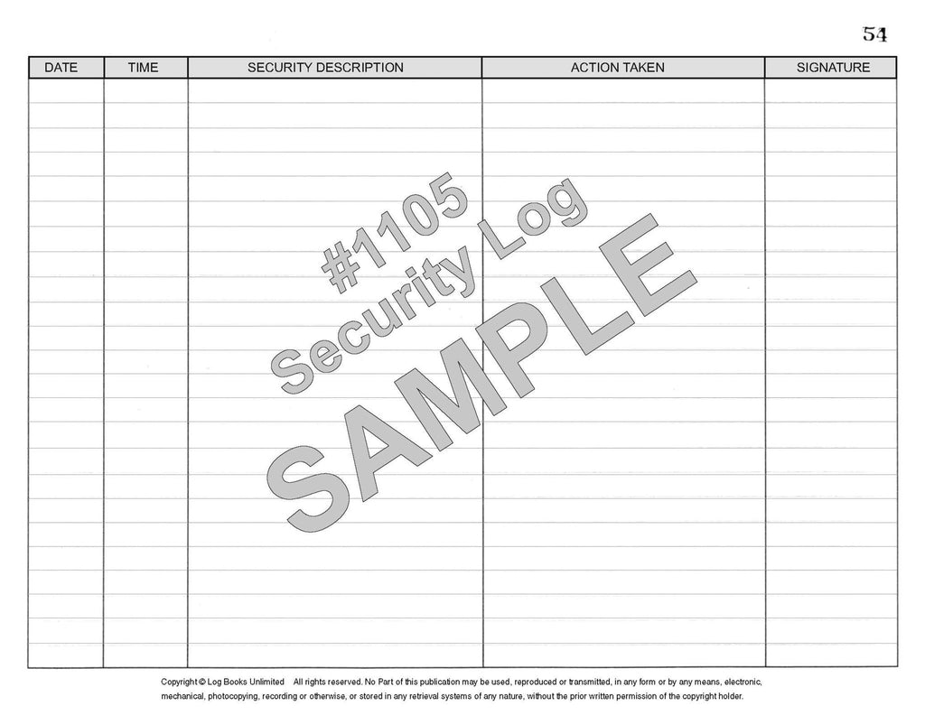 Security Log Book 1105 Log Books Unlimited Recording