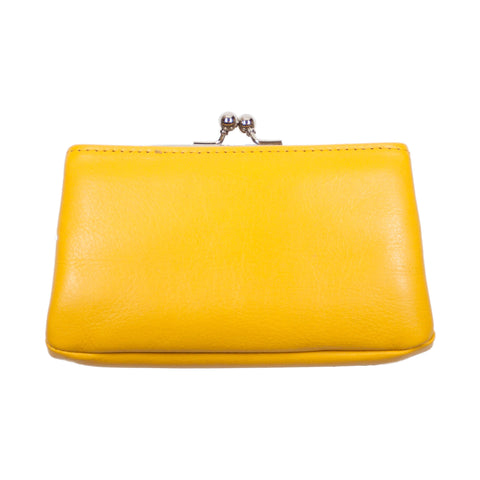 Matsunoya Leather Square Coin Case, Yellow