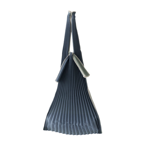 Kna Plus Tate Pleats Bag Small, Steel Grey/Grass Green