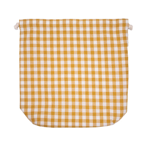 Peacher Drawstring Bag, Yellow Gingham