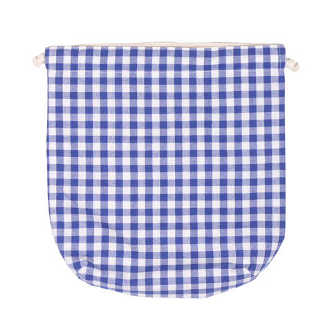 Peacher Drawstring Bag, Blue Gingham
