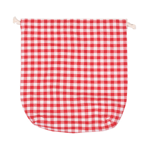 Peacher Drawstring Bag, Red Gingham