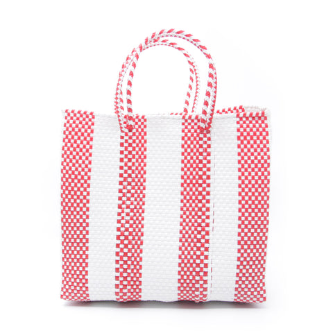 Letra Mercado Bag S, White/Red 4 Lines