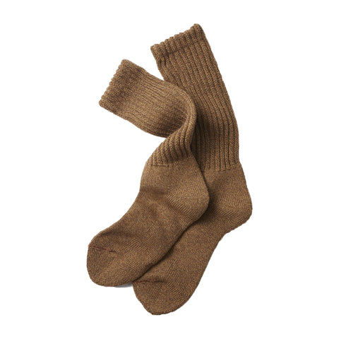 RoToTo Loose Pile Crew Socks, Mix Brown