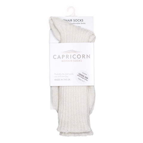 Capricorn Mohair Socks, Sussex Socks, Cream