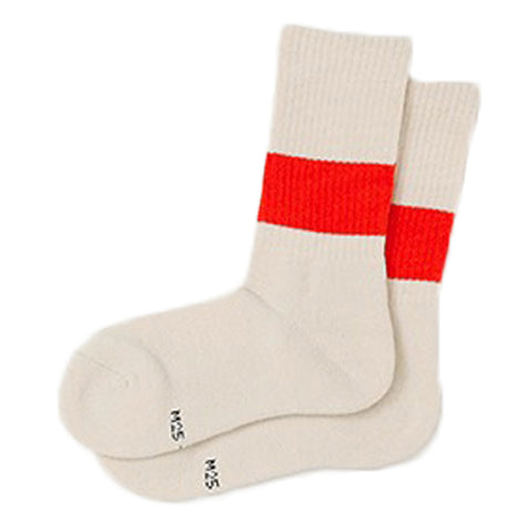 RoToTo Classic Crew Socks, Ivory/Orange