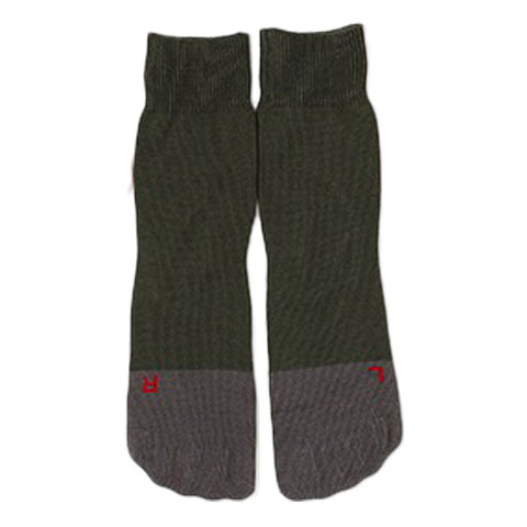 RoToTo Secret Five Fingers Socks, Dark Green/Grey