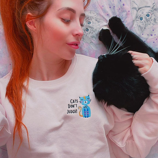 Cats Don't Judge Embroidered Sweatshirt