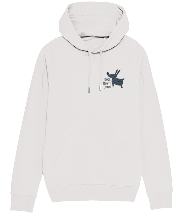 Dogs Don't Judge Embroidered Hoodie Grey