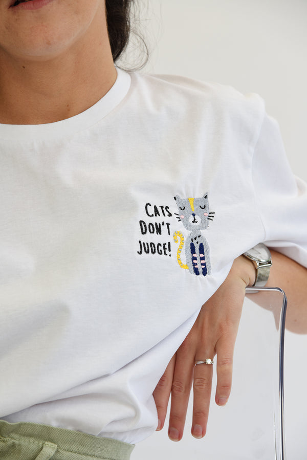 Cats Don't Judge Embroidered Tee