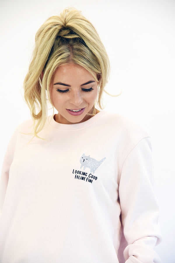 Looking Good Feline Fine Embroidered Sweatshirt