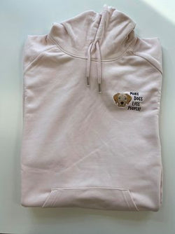 More Dogs Less People Embroidered Hoodie Pink