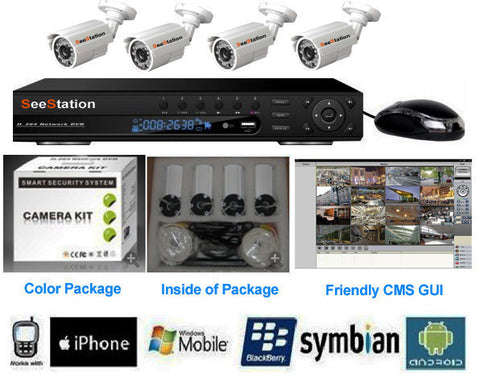 SeeStation DVR Kit 4 Channel 960H With 4 Each 800TVL BLACK Cameras - PAM Distributing Co