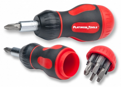Platinum Tools 19120C 8-in-1 Ratcheted Stubby Screwdriver - PAM Distributing Co