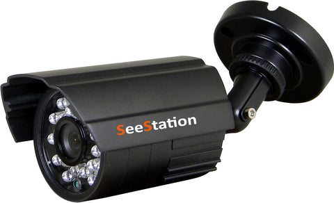 SeeStation C1139AF8V-AB Bullet Camera Outdoor 800 TVL 3.6mm Fixed AI Lens 12VDC Black Housing - PAM Distributing Co
