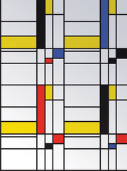 One of the designs was by Piet Mondrian - as seen below. The wallpaper was to be used with the white and black 'Metro' foam magnets.