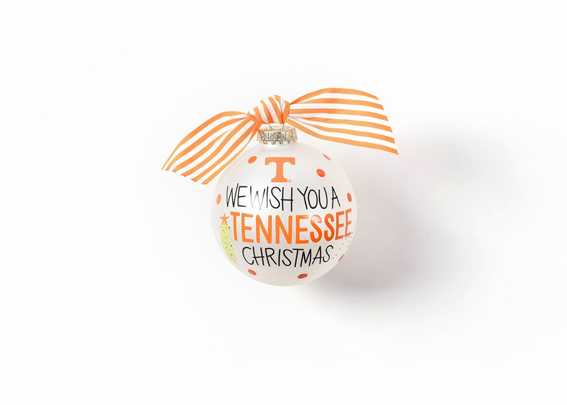 Tennessee We Wish You Glass Ornament