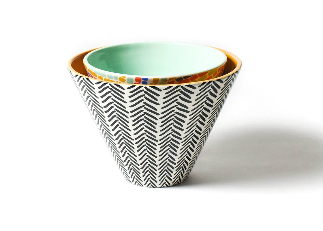 Restored Retro Mix Mod Party Bowls, Set Of 2