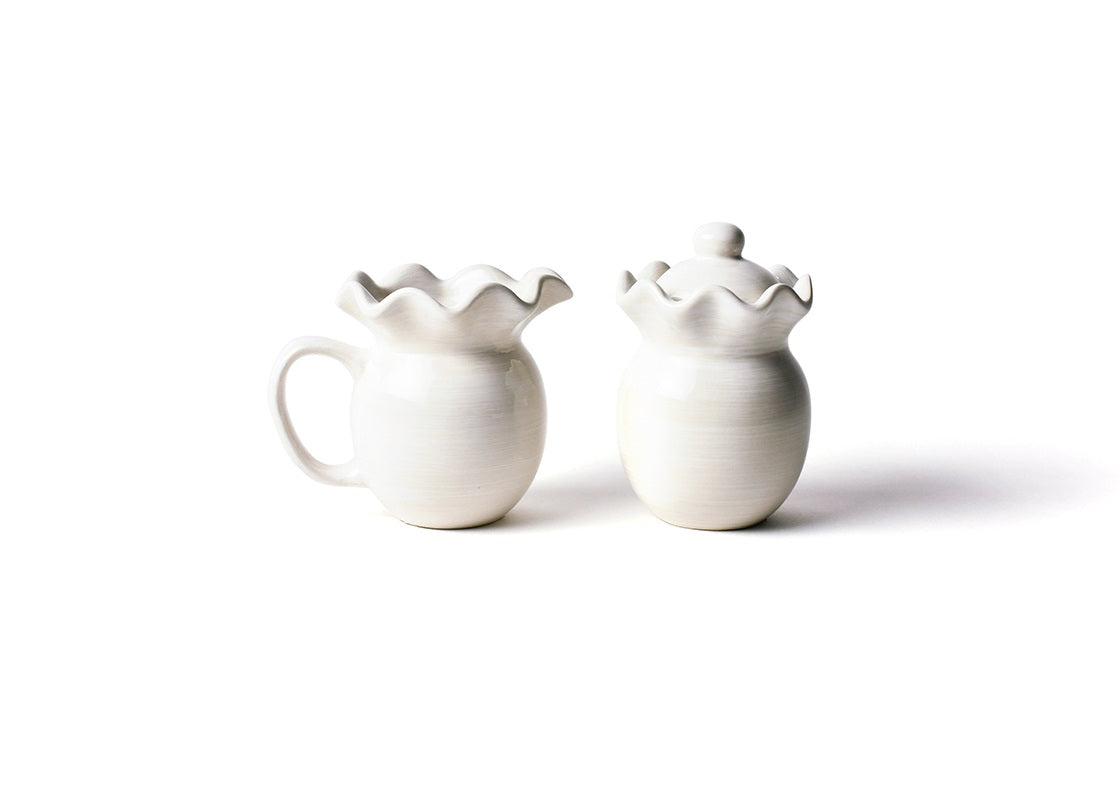 Signature White Ruffle Cream and Sugar Set