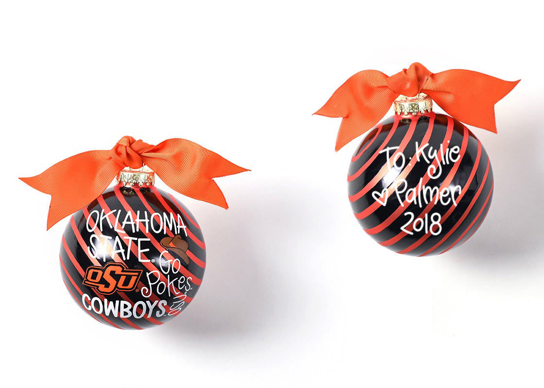 Oklahoma State Word Collage Glass Ornament